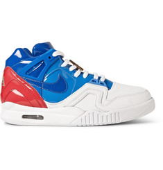 Nike Tier Zero Court Air Tech Challenge II Panelled Patent-Leather High Top Sneakers