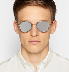 Thom Browne Round Aviator-Frame Acetate and Metal Mirrored Sunglasses