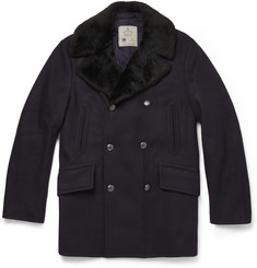 Private White V.C. Shearling-Collar Wool Peacoat