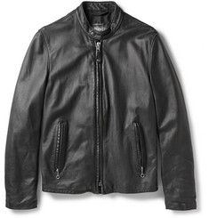 Schott Vintage-Effect Leather Café Racer Jacket