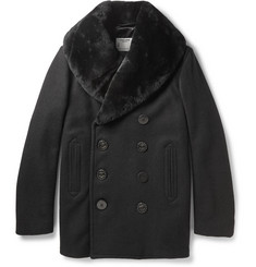 Schott Thompson Shearling-Collar Wool-Blend Peacoat