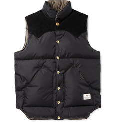 Neighborhood Rocky Mountain Down-Filled Suede-Panelled Shell Gilet
