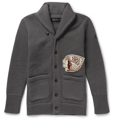 Neighborhood Embroidered Patch Knitted Wool Cardigan