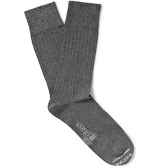 Corgi Fine-Gauge Cotton and Cashmere-Blend Socks
