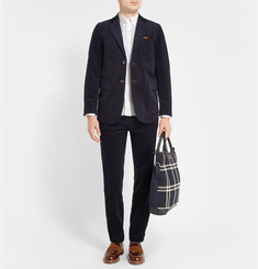 Beams Plus Tartan-Panelled Linen-Blend and Cotton Shirt