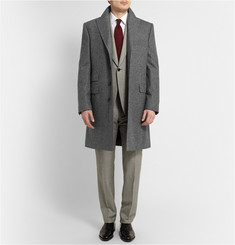 Kingsman Peak-Lapel Wool-Flannel Overcoat