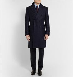 Kingsman Double-Breasted Herringbone Wool Overcoat