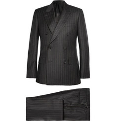 Kingsman Charcoal Double-Breasted Chalk-Striped Suit