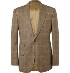 Kingsman Brown Single-Breasted Brushed-Wool Checked Blazer