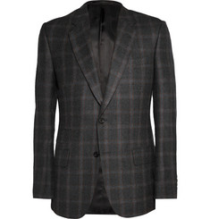 Kingsman Charcoal Brushed-Wool Window-Pane Checked Blazer