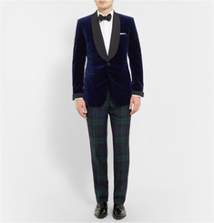 Kingsman Blue Velvet Smoking Jacket with Silk-Grosgrain Shawl-Collar