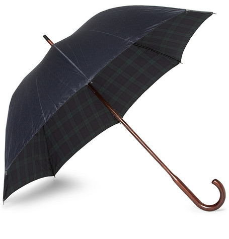 London Undercover Maple Handle Plaid-Lined Umbrella