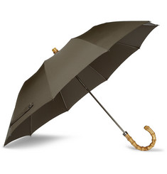 London Undercover Bamboo-Handled Collapsible Umbrella