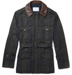 Kingsman Black Watch Waxed-Cotton Field Jacket with Leather Trims