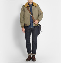 J.Crew Abingdon Waxed Cotton-Canvas and Leather Laptop Bag