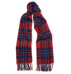 J.Crew Brilliant Flame Checked Cashmere Scarf