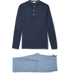 NN.07 Sleepwell Cotton-Jersey and Chambray Pyjama Set