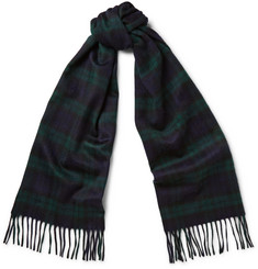 Begg & Co Arran Black Watch Checked Cashmere Scarf