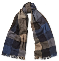 Begg & Co Box Check Washed-Cashmere Scarf