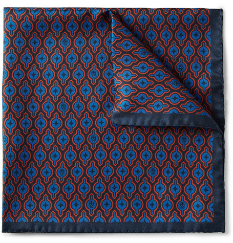 Alexander McQueen Printed Silk Pocket Square