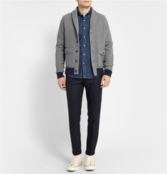 J.Crew Wallace & Barnes Suede Elbow Patch Wool-Blend Cardigan