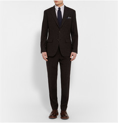 J.Crew Brown Slim-Fit Checked Wool Suit Trousers
