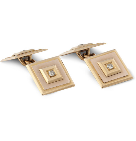 Foundwell Vintage 18-Karat Gold Diamond Cufflinks