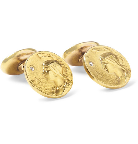 Foundwell Krementz 14-Karat Gold and Diamond Cufflinks