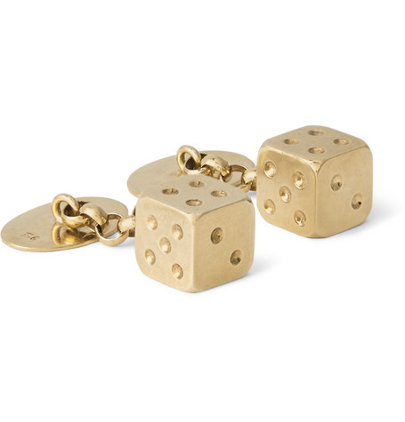 Foundwell 9-Karat Gold Dice Cufflinks