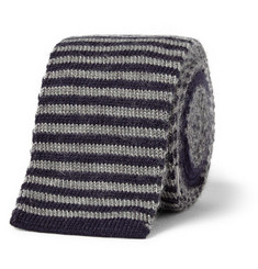 Gieves & Hawkes Striped Knitted Cashmere Tie
