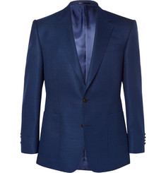 Gieves & Hawkes Blue Woven Wool and Mohair-Blend Blazer