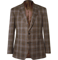 Gieves & Hawkes Brown Slim-Fit Check Wool, Silk and Linen-Blend Blazer