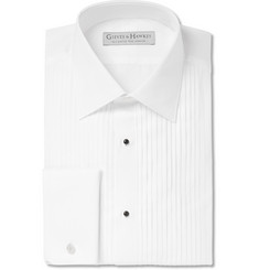 Gieves & Hawkes White Spread Collar Cotton-Poplin Shirt