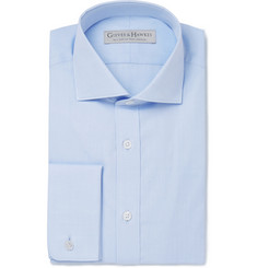 Gieves & Hawkes Blue Cotton-Poplin Spread-Collar Shirt