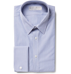 Gieves & Hawkes Navy Slim-Fit Striped Textured-Cotton Shirt