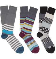 Paul Smith Shoes & Accessories Three-Pack Patterned Cotton-Blend Socks