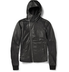 Rick Owens Slim-Fit Hooded Leather Jacket