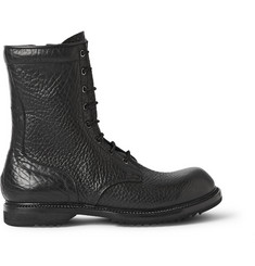 Rick Owens Textured-Leather Combat Boots