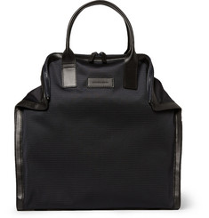 Alexander McQueen De Manta Leather-Trimmed Woven Tote