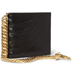 Alexander McQueen Embossed Leather Billfold Wallet with Gold Chain