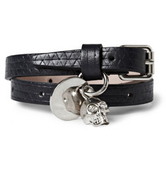 Alexander McQueen Textured-Leather Wrap Bracelet with Skull