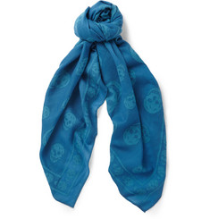 Alexander McQueen Woven-Skull Wool and Cotton-Blend Scarf
