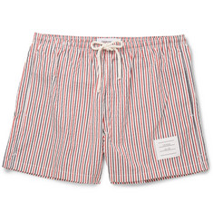 Thom Browne Striped Seersucker Mid-Length Swim Shorts