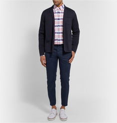 Thom Browne Button-Down Collar Checked Cotton Oxford Shirt