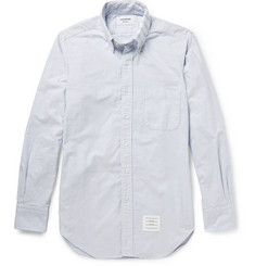 Thom Browne Grosgrain-Striped Button-Down Collar Cotton Oxford Shirt