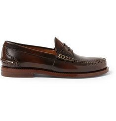 Gucci Burnished-Leather Loafers
