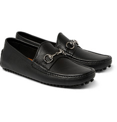 Gucci Horsebit Grained-Leather Driving Shoes