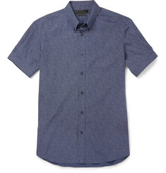 Alexander McQueen Printed Cotton-Poplin Short-Sleeve Shirt