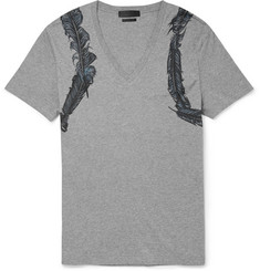 Alexander McQueen Feather-Print Cotton-Jersey T-Shirt