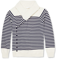 Alexander McQueen Striped Asymmetric Wool Cardigan